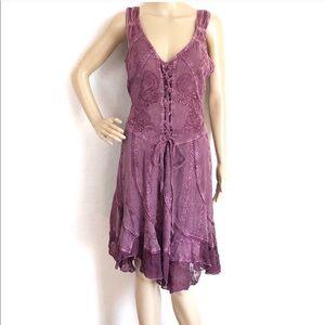Rebellion Purple Lace Up Sleeveless Boho Dress